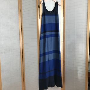 Size Large Vince Tank maxi dress striped blue grey